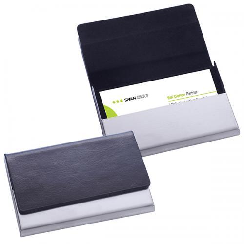 """קופסא לכרטיסי ביקור """"ויזיט"""" דמוי עור / מתכת   סגירה מגנטית"""