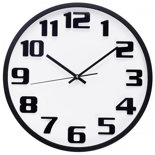 """שעון קיר """"מדריד"""" לבן עם ספרות שחורות ומסגרת שחורה"""