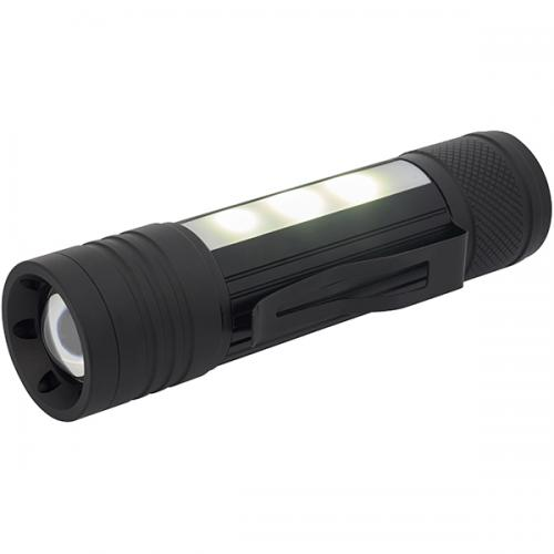 """פנס אלומניום מקצועי """"OPTO LED"""" לד 5W טושיבה + שני פסי תאורת SMD בגוף"""