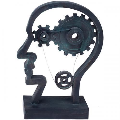 """פסל אומנותי -  """" גלגלי המוח """"  ראש האדם"""