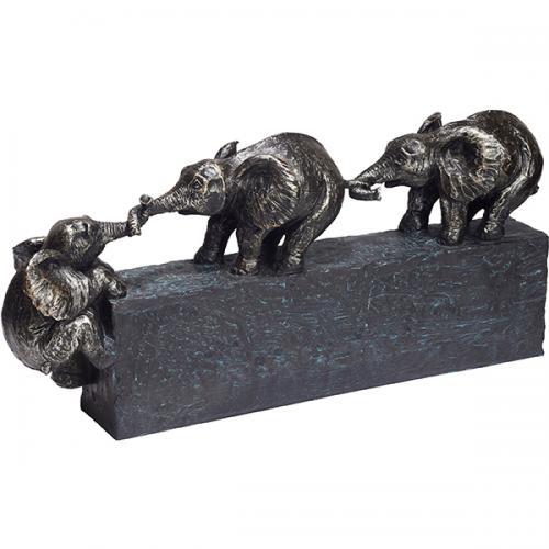 """פסל אומנותי - """"תמיד ביחד""""  (שלושה פילים)"""
