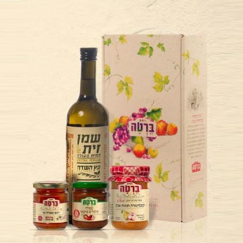 מארז לחג שמן זית דבש ממרח פלפלים וקונפיטורה תפוח עץ אגס