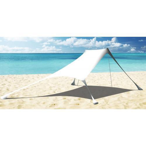 ציליית חוף עם ערכות הצללה לבנה משפחתית ענקית