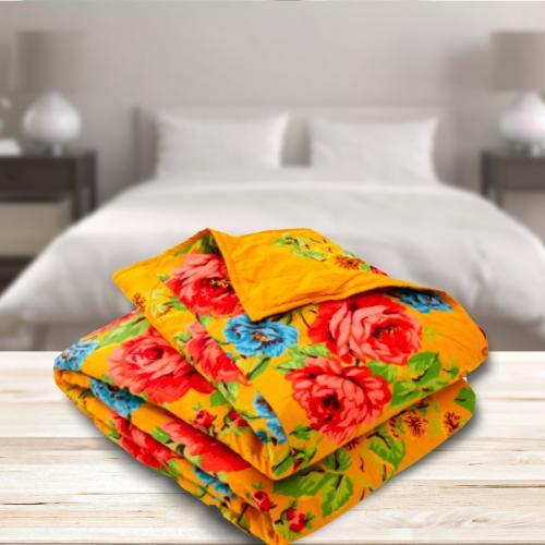 כיסוי מיטה זוגי  100% כותנה הדפס אתני - ג'ינגר עיצוב אקלקטי לבית