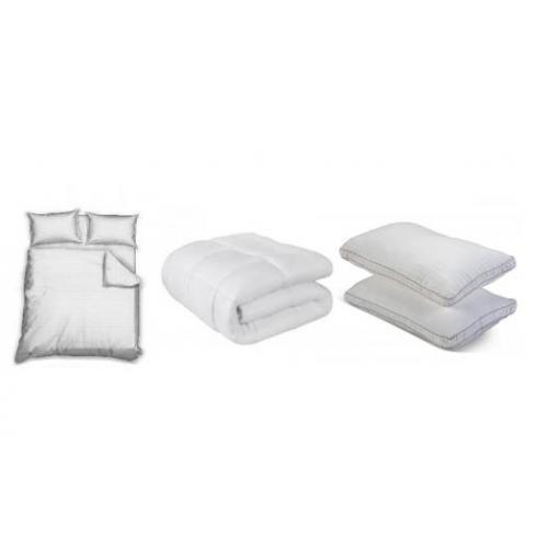 """מארז שינה מפנק עם סט מצעים זוגי, שמיכת פוך זוגית  וזוג כריות sleep comfort - ד""""ר גב"""