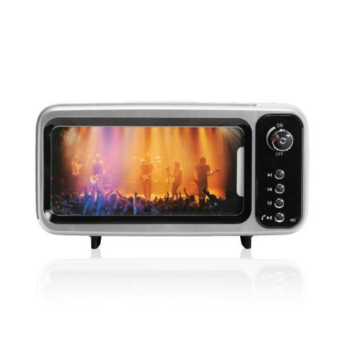 רמקול בעיצוב טלוויזיה בטכנולוגיית בלוטוס' עם תושבת לטלפון הנייד