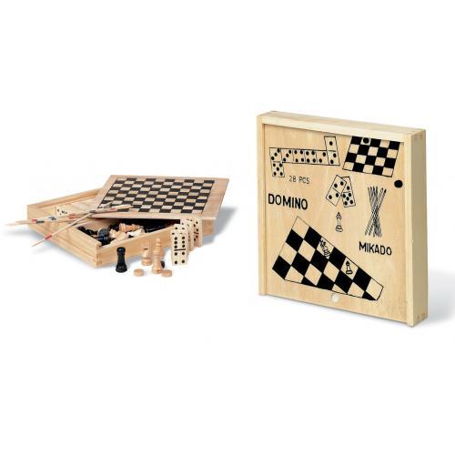 קופסת 4 משחקים קומפקטית מעץ טבעי