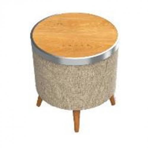 רמקול שולחן מעוצב ומשטח טעינה אלחוטית - גימור זכוכית שחורה/עץ בהיר NOA