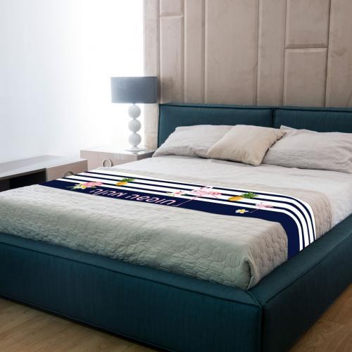 ברוכים הבאים וחופשה מהנה - ראנר מבד למיטת מלון מודפס 220/45