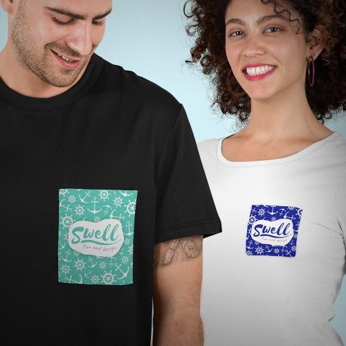 חולצת טי שירט עם כיס מודפס בהדפסה מלאה