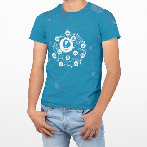 חולצת מבד ננו פייבר דמוי כותנה בהדפסת ALL OVER צבעונית