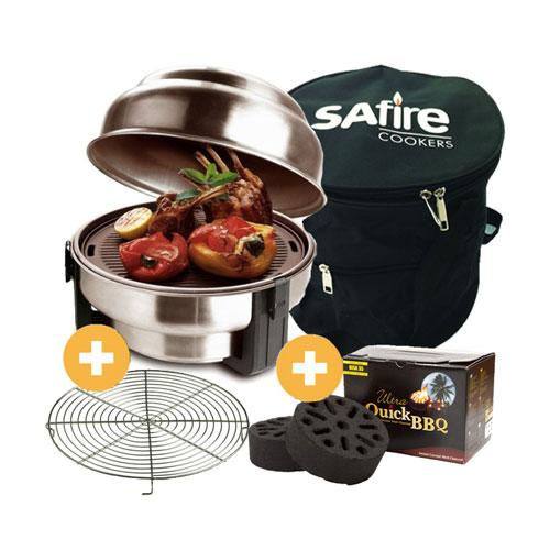 SAfire - גריל פחמים המשלב בתוכו מנגל, גריל תנור ומחבת ללא עשן וללא ריח
