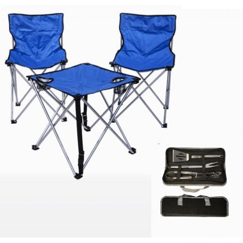 סט פיקניק עם כסאות שולחן וכלי מנגל