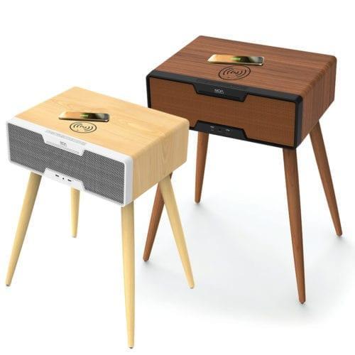 שולחן / שידת רמקול מעוצב+ טעינה אלחוטית NOA Sound Box