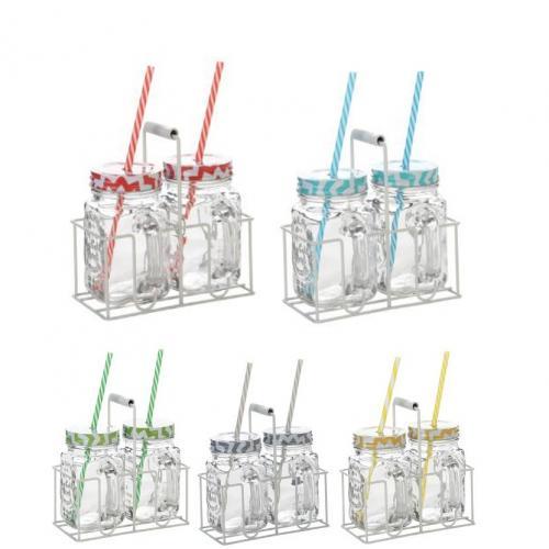 זוג כוסות צנצנת מדליקים עם קשית - במעמד שולחני