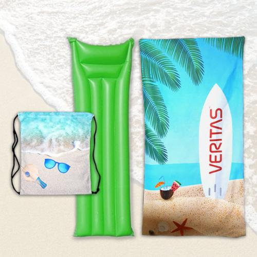 מגבת חוף ותיק שרוך מעוצבים בהדפסת Allover בשילוב מזרן-ים צבעוני - מבצע!