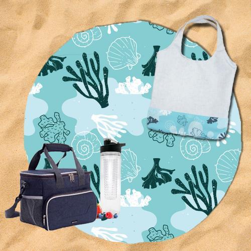 ערכת חוף מושלמת - מגבת עגולה עם תיק צד לים תואם צידנית ובקבוק דפיוזר לשתיה בטעמים