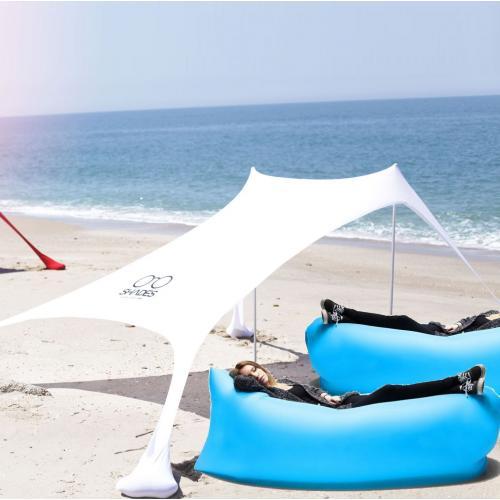 סט קייצי מדליק ושימושי במיוחד המשלב ערכת הצללה XL וזוג פופים מתנפחים לחוף הים