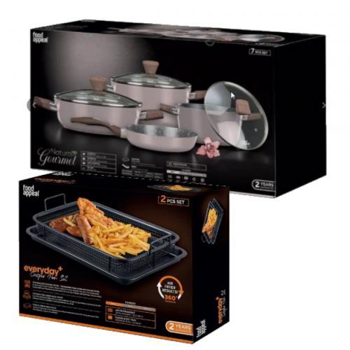 מארז חג מפנק למטבח הכולל סט 7 חלקים  עם סט טיגון בריא ללא שמן לתנור מבית Food appeal
