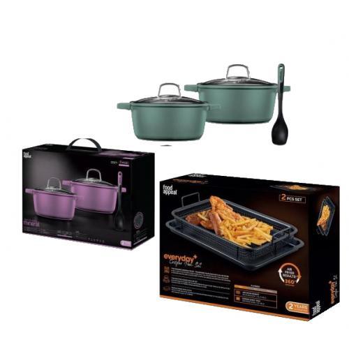 מארז מפנק למטבח הכולל סט סירים 5 חלקים יחד עם סט טיגון ללא שמן לתנור  מבית Food appeal