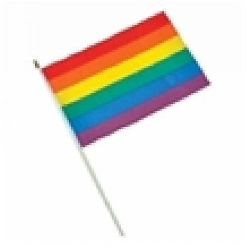 """דגל קשת 30 X 45 ס""""מ על מקל עץ"""