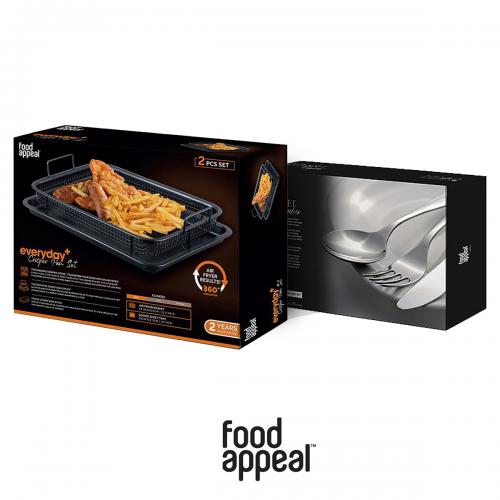 """מארז למטבח הכולל סט טיגון ללא שמן לתנור עם סכו""""ם יוקרתי מבית Food appeal"""