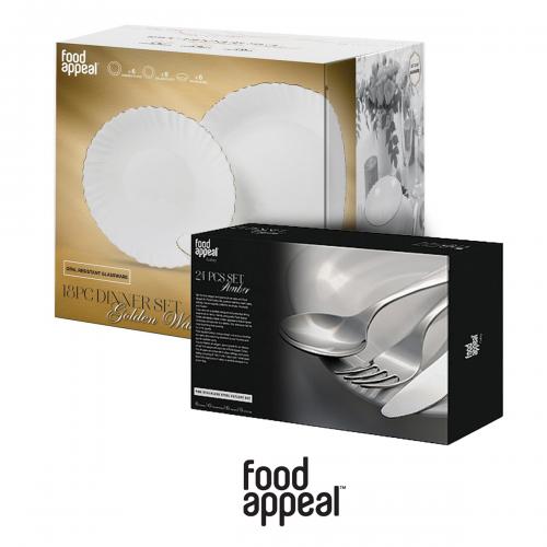 """סט למטבח הכולל מערכת כלים ל-18 סועדים וסט סכו""""ם 24 חלקים מבית Food appeal"""