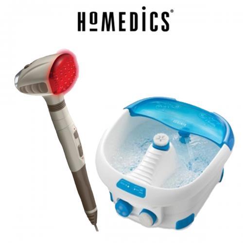 """מארז עיסוי מפנק הכולל אמבט עיסוי רפלקסולוגי יחד עם מכשיר עיסוי ברטט מבית HoMEDICS ד""""ר גב"""