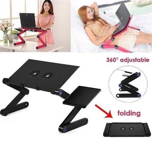 מגשולחן מתכוונן עם מאוורר למחשב נייד