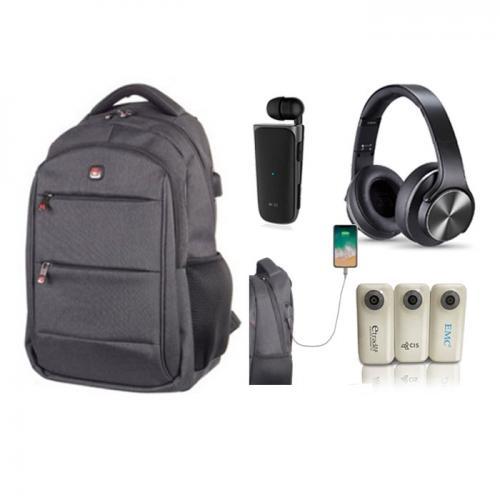 סט תיק גב עם חיבור USB בשילוב אוזניות, מטען נייד עוצמתי ודיבורית בלוטות'