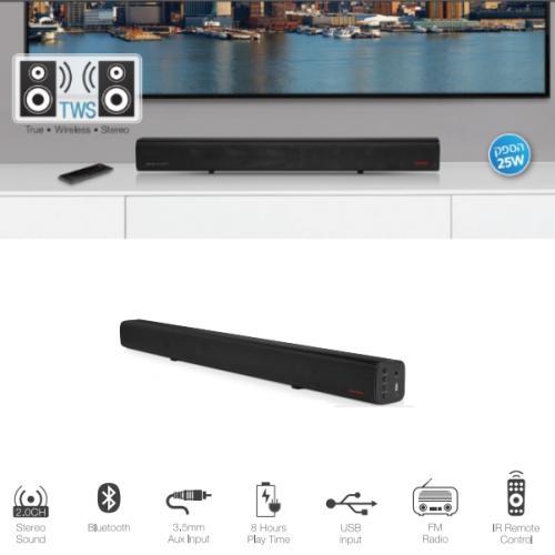 מקרן קול TWS בלוטוס נייד ואלחוטי 25W דגם Pure Aucostics HDS-70
