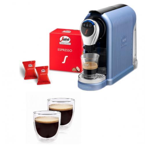 מארז קפה מפנק הכולל מכונת קפה, 40 קפסולות SEGAFREDO עם שישיית כוסות אספרסו מבית Food Appeal