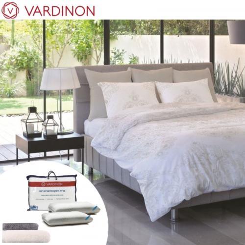 סט מפנק המשלב מצעים 100% כותנה, זוג כריות, מגבת פנים ומגבת גוף של VARDINON
