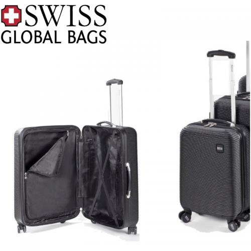 """מזוודת טרולי 20"""" לעליה למטוס 4 גלגלים קשיחה מבית Swiss Globa"""