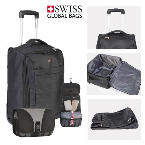 מארז נסיעות מושלם הכולל מזוודה SWISS FLAT  מתקפלת ותיק רחצה איכותי SWISS