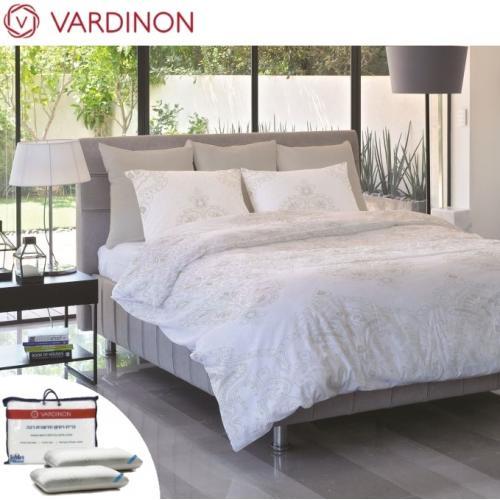 מארז מצעי כותנה וזוג כריות מפנק לחדר השינה vardinon