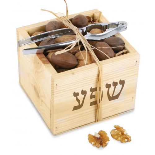 נטוראל - קופסת עץ טבעי עם אגוזים ומפצח