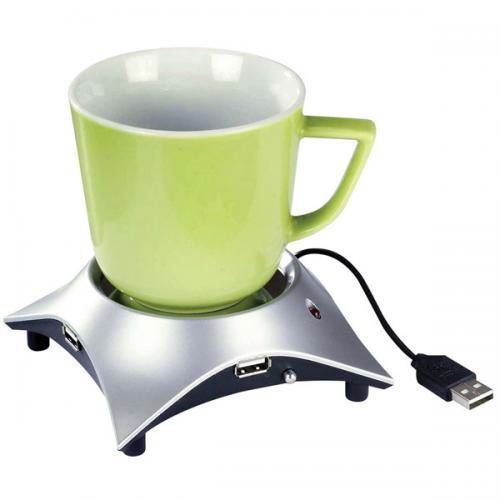מחמם כוסות שתייה בישלוב מפצל USB