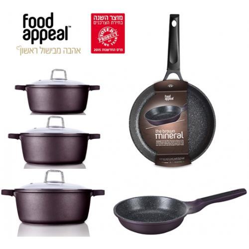 חבילת בישול טבעי באבן שיש 3 סירים ו2 מחבתות - מסדרת מינראל Food Appeal