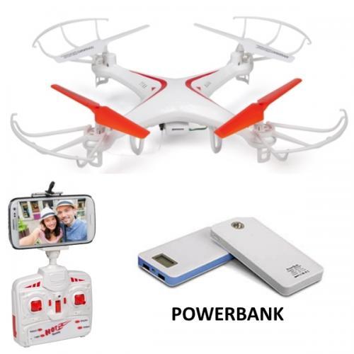 חבילת הטסה הכוללת רחפן המשדר את הצילום ישירות לנייד ומטען נייד POWERBANK