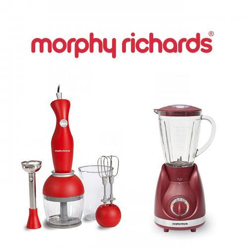 בלנדר 1.5 ליטר זכוכית ומוט בלנדר +אביזרים Morphy richards
