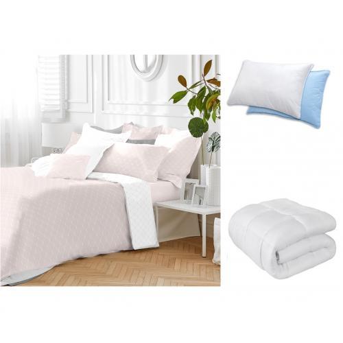"""מארז מפנק לשינה בריאה! סט מצעים זוגי,  שמיכה זוגית  וכרית אורטופדית -  ד""""ר גב"""