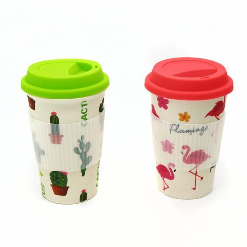 כוס במבוק עם מכסה סיליקון במגוון עיצובים