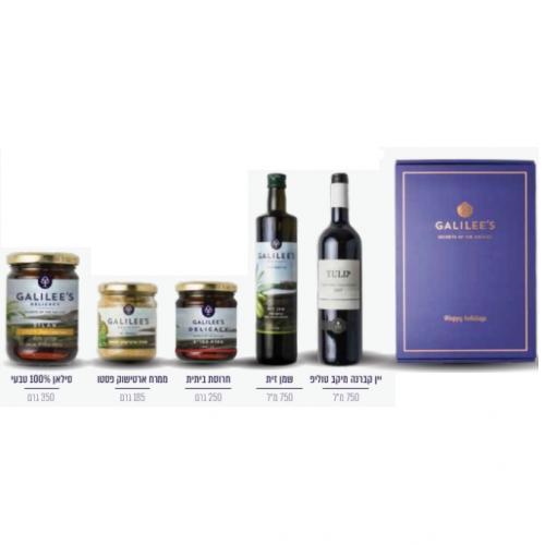 סט יין שמן זית חרוסת ממרח ארטישוק וסילאן