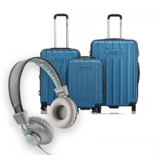 סט מושלם לנסיעה - 3 מזוודות קשיחות JEEP ואוזניות POSITIVE VIBRATION מבית Marley