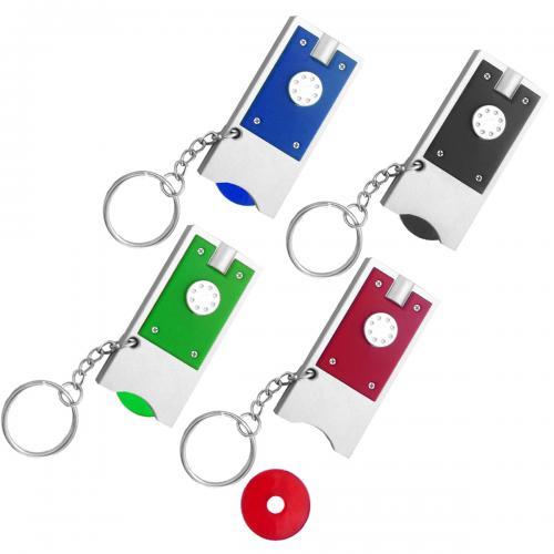 מחזיק מפתחות עם מטבע לעגלות סופר.