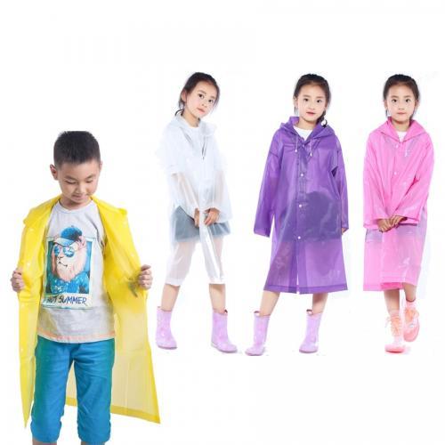 מעיל גשם ארוך שקוף מניילון - לילדים