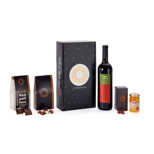 """מארז סאן B הכולל שיאון, יין אדום יבש, 750 מל', יקב """"רמת הגולן"""","""