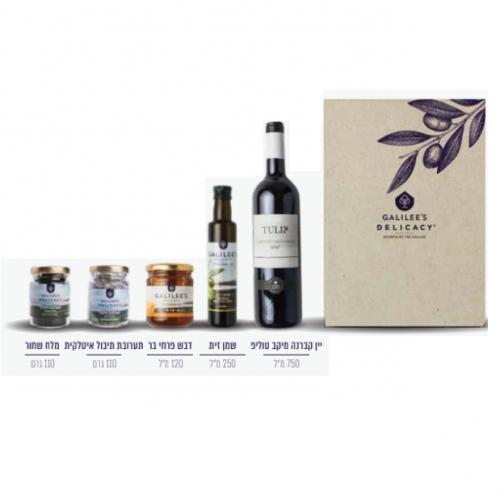 סט יין שמן דבש תערובת תיבול ומלח שחור