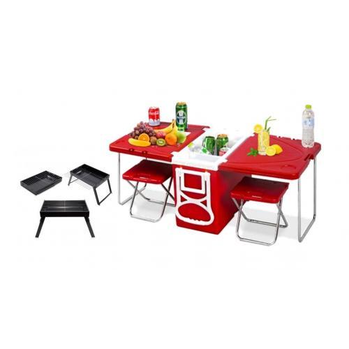 מארז לפיקניק מושלם - צידנית פטנט ההופכת לשולחן וכסאות עם מנגל מתקפל
